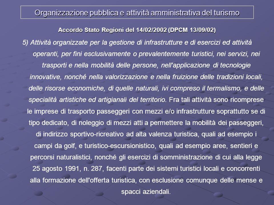 Organizzazione pubblica e attività amministrativa del turismo Accordo Stato Regioni del 14/02/2002 (DPCM 13/09/02) 5) Attività organizzate per la gest