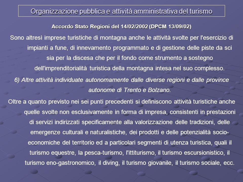 Organizzazione pubblica e attività amministrativa del turismo Accordo Stato Regioni del 14/02/2002 (DPCM 13/09/02) Sono altresì imprese turistiche di
