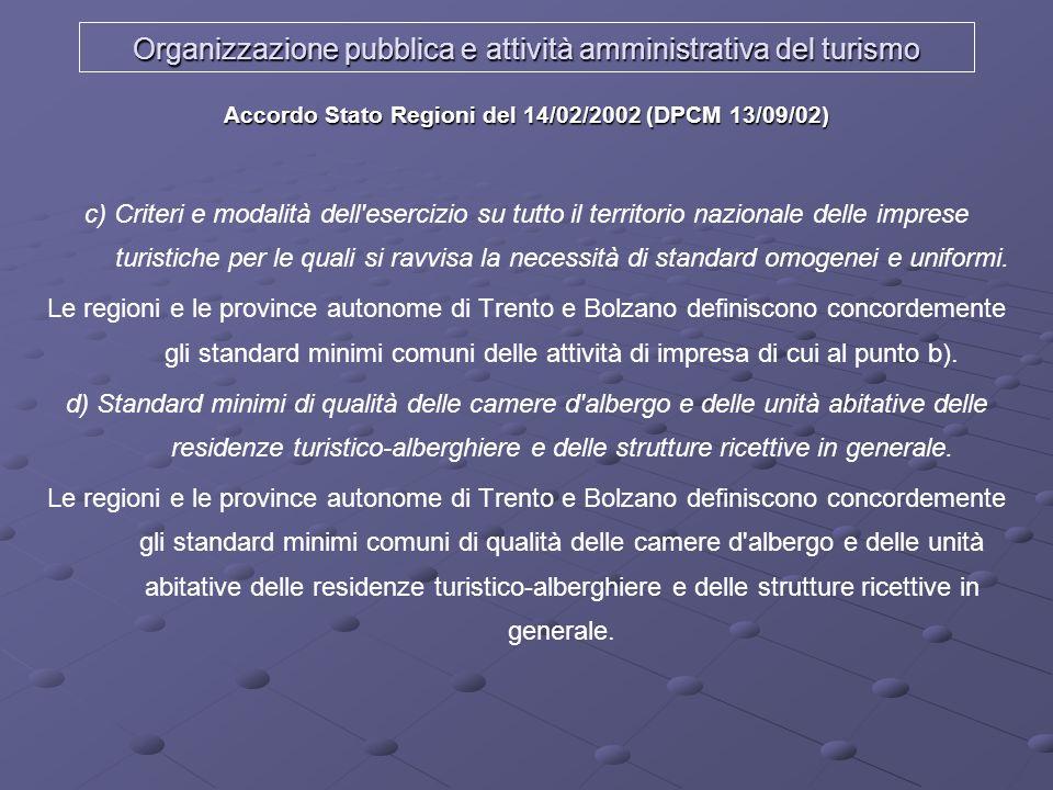 Organizzazione pubblica e attività amministrativa del turismo Accordo Stato Regioni del 14/02/2002 (DPCM 13/09/02) c) Criteri e modalità dell'esercizi