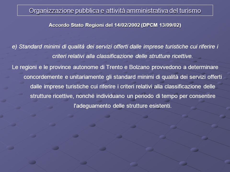 Organizzazione pubblica e attività amministrativa del turismo Accordo Stato Regioni del 14/02/2002 (DPCM 13/09/02) e) Standard minimi di qualità dei s