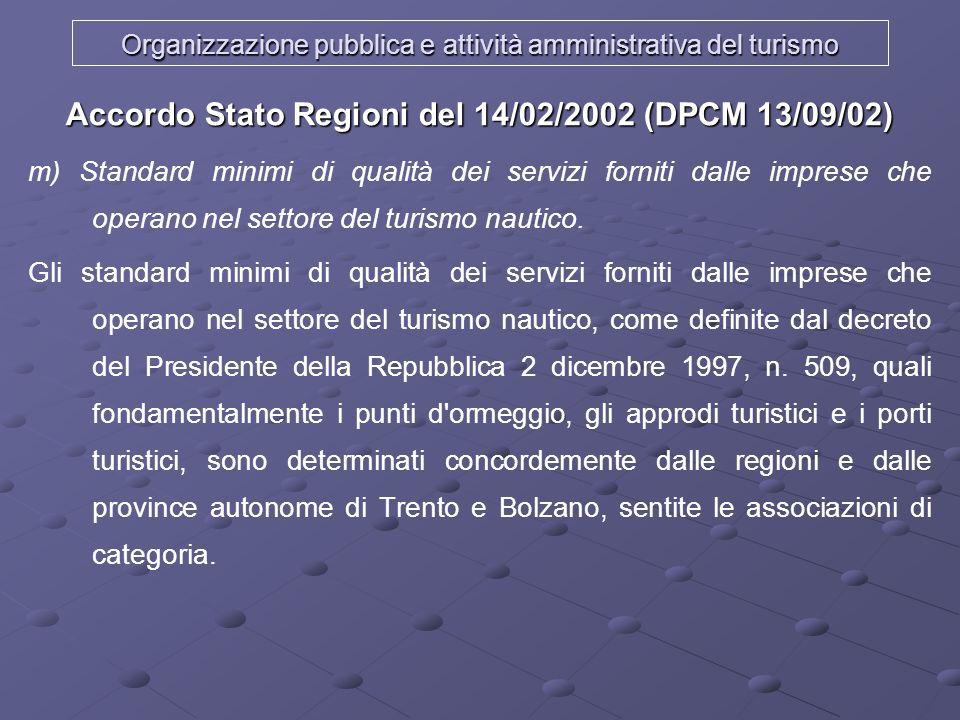 Organizzazione pubblica e attività amministrativa del turismo Accordo Stato Regioni del 14/02/2002 (DPCM 13/09/02) m) Standard minimi di qualità dei s