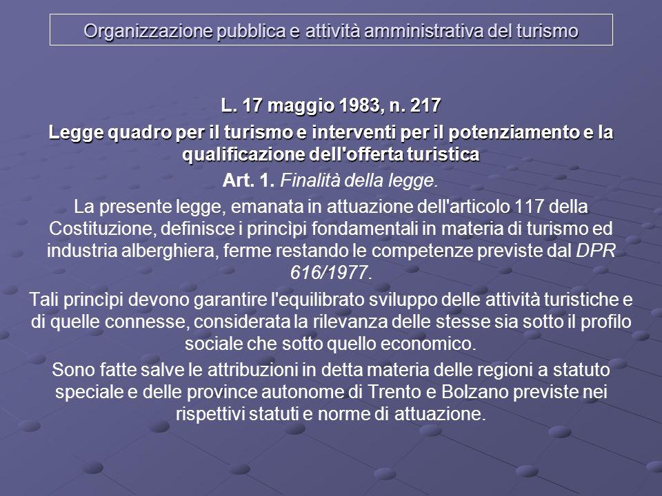 Organizzazione pubblica e attività amministrativa del turismo Legge 29-3-2001 n.