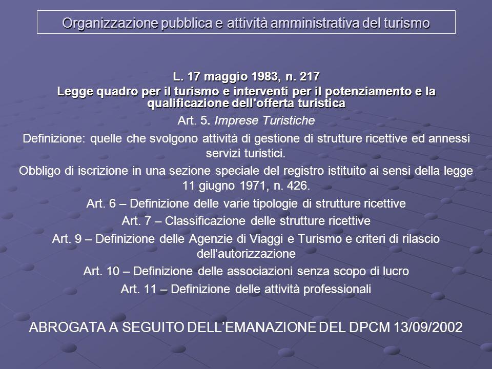 Organizzazione pubblica e attività amministrativa del turismo L. 17 maggio 1983, n. 217 Legge quadro per il turismo e interventi per il potenziamento