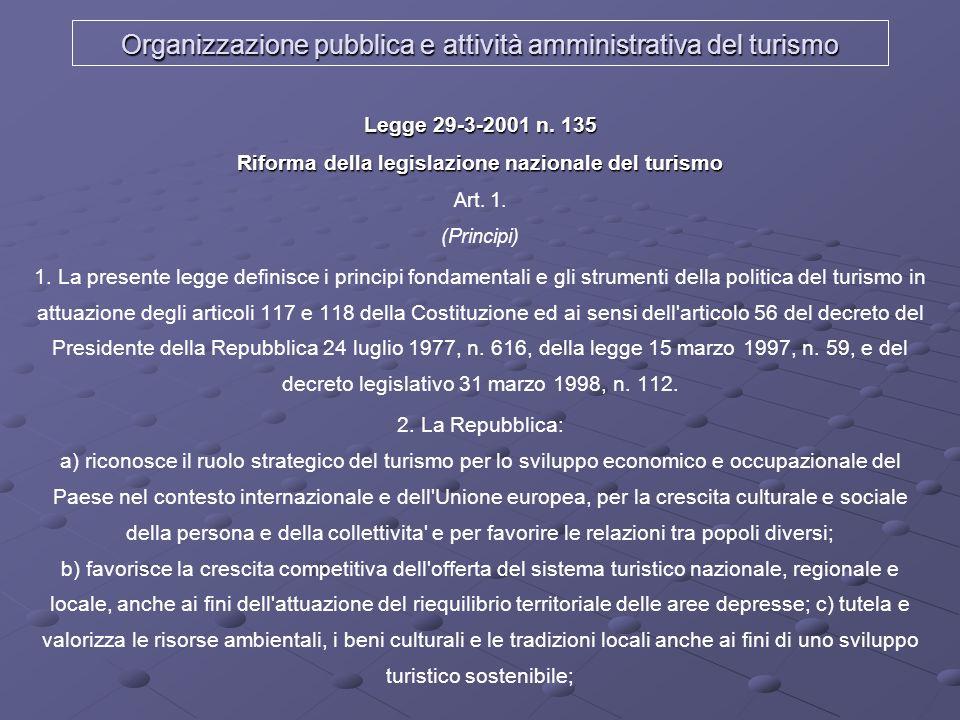 Organizzazione pubblica e attività amministrativa del turismo Legge 29-3-2001 n. 135 Riforma della legislazione nazionale del turismo Legge 29-3-2001
