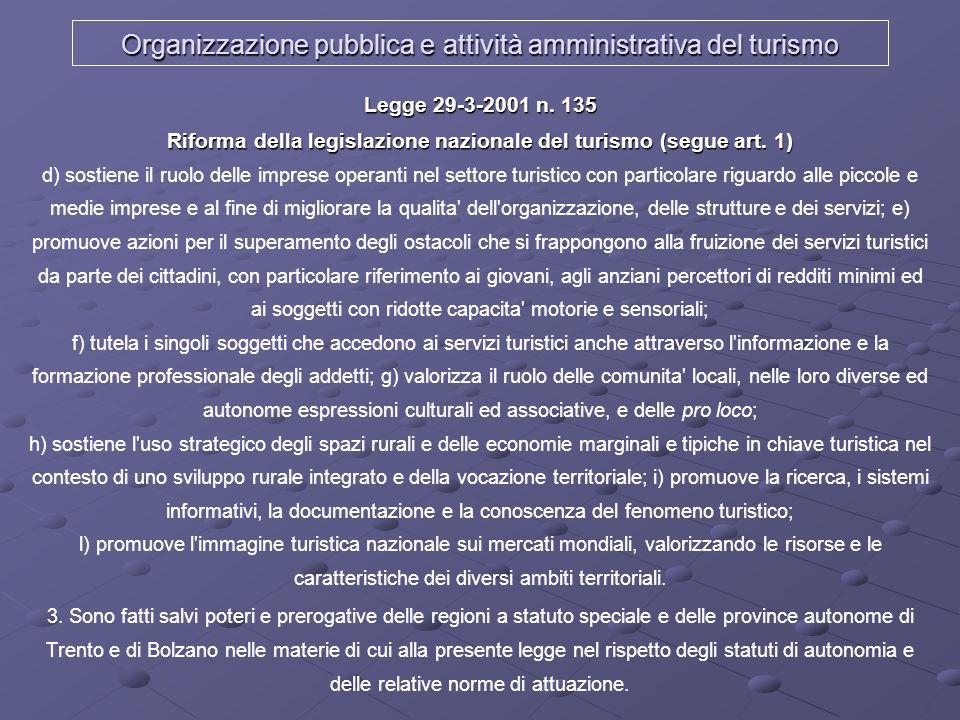 Organizzazione pubblica e attività amministrativa del turismo Legge 29-3-2001 n. 135 Riforma della legislazione nazionale del turismo (segue art. 1) L