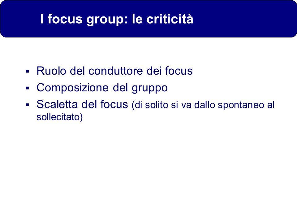 Ruolo del conduttore dei focus Composizione del gruppo Scaletta del focus (di solito si va dallo spontaneo al sollecitato) I focus group: le criticità