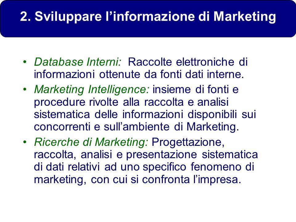 2. Sviluppare linformazione di Marketing Database Interni: Raccolte elettroniche di informazioni ottenute da fonti dati interne. Marketing Intelligenc