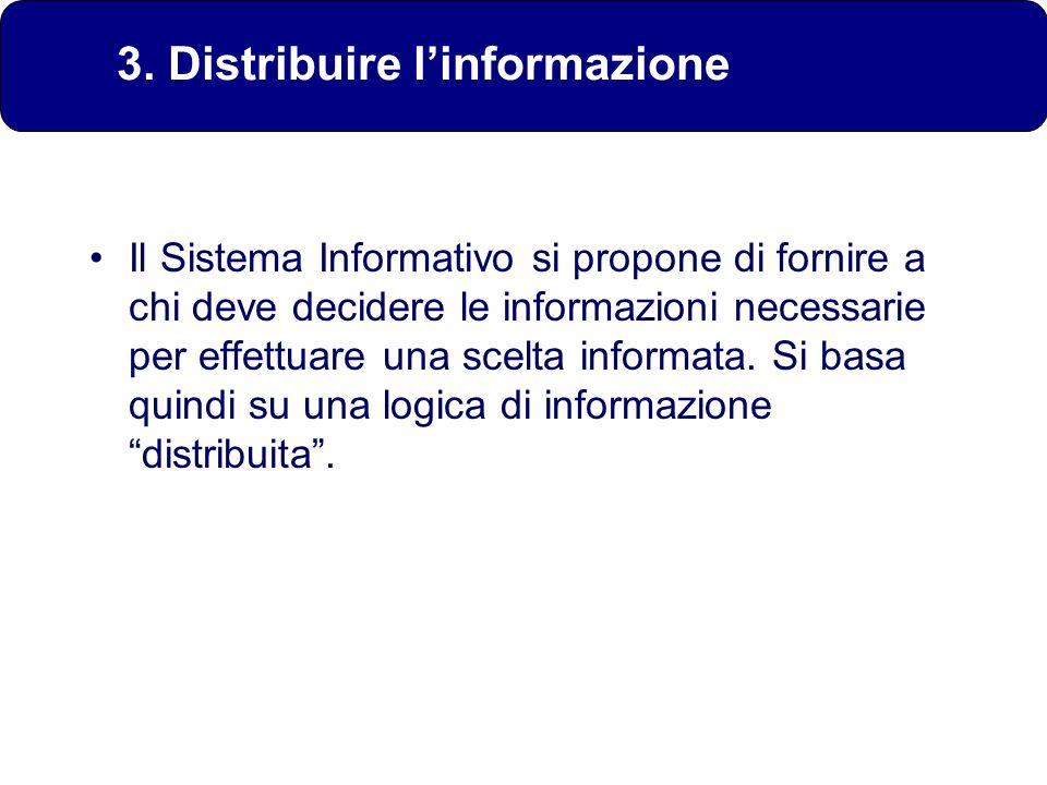 Il Sistema Informativo si propone di fornire a chi deve decidere le informazioni necessarie per effettuare una scelta informata. Si basa quindi su una