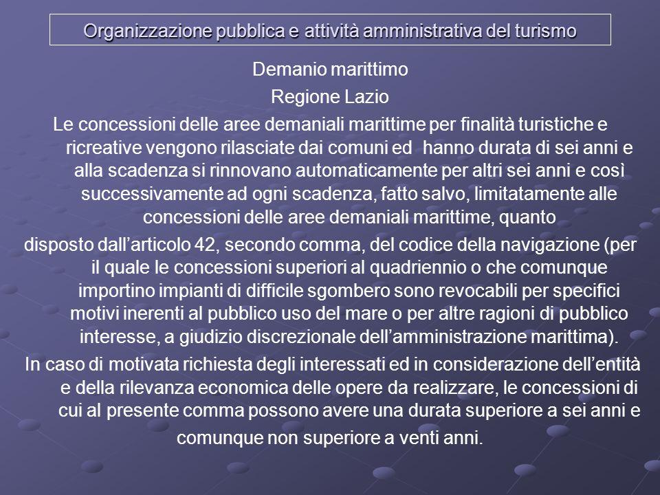 Organizzazione pubblica e attività amministrativa del turismo Demanio marittimo Regione Lazio Le concessioni delle aree demaniali marittime per finali