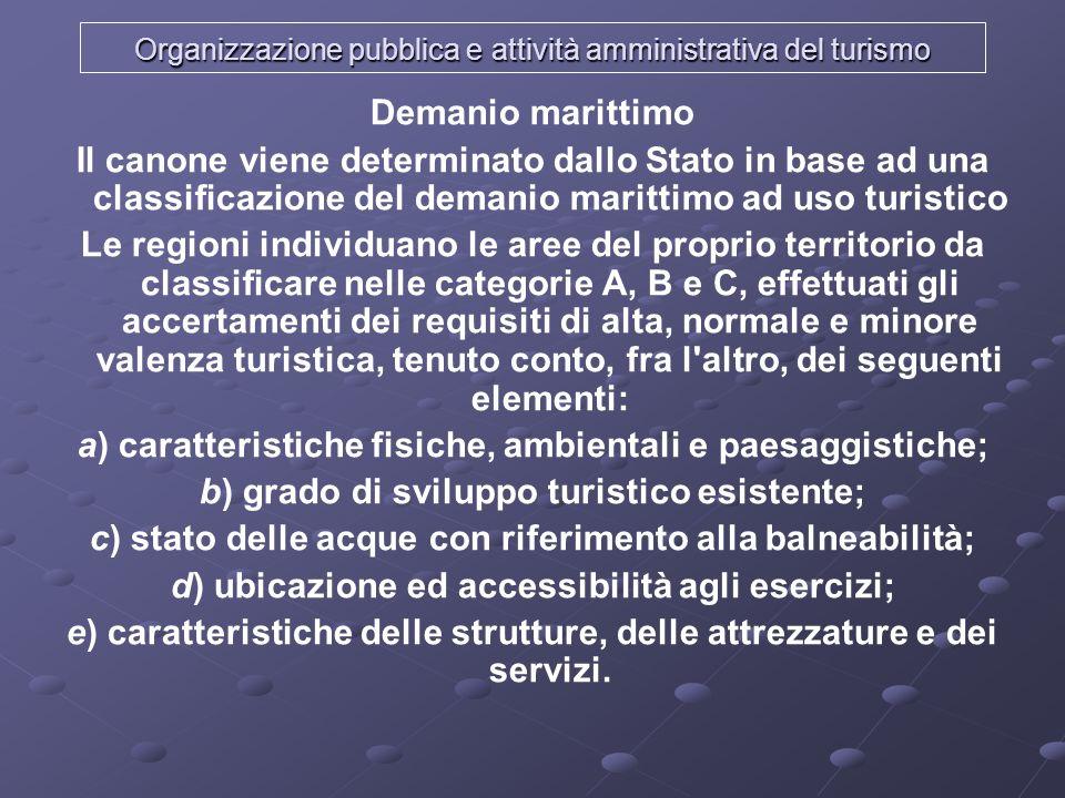 Organizzazione pubblica e attività amministrativa del turismo Demanio marittimo Il canone viene determinato dallo Stato in base ad una classificazione