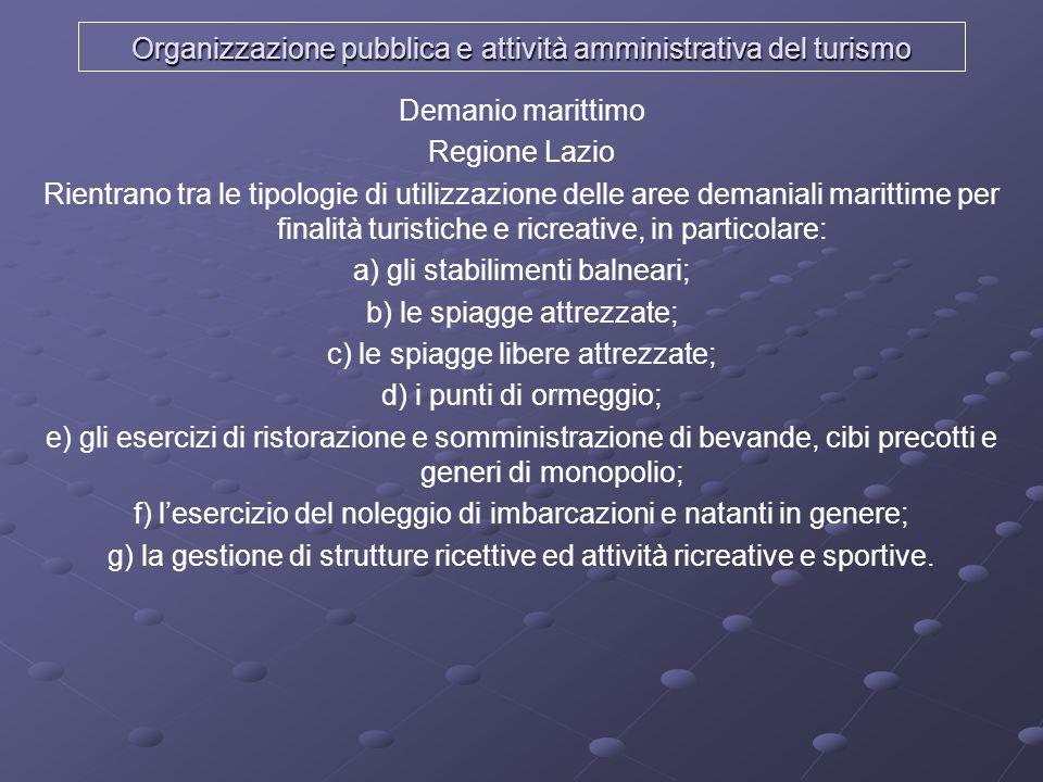 Organizzazione pubblica e attività amministrativa del turismo Demanio marittimo Regione Lazio Rientrano tra le tipologie di utilizzazione delle aree d