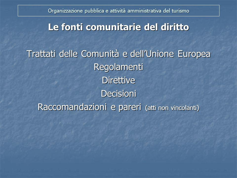 Organizzazione pubblica e attività amministrativa del turismo Le fonti comunitarie del diritto Art.