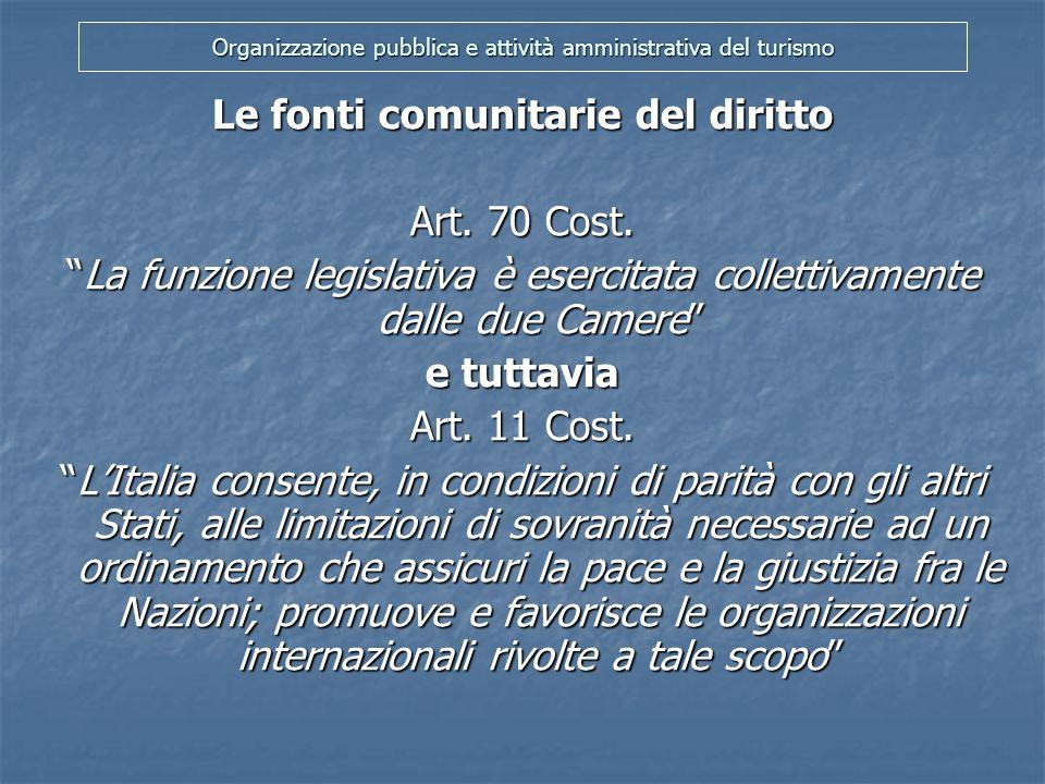 Organizzazione pubblica e attività amministrativa del turismo Le fonti comunitarie del diritto Corte Costituzionale (sent.