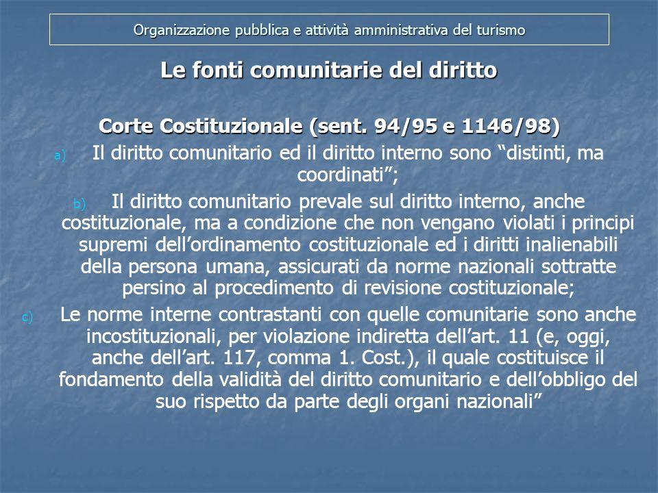 Organizzazione pubblica e attività amministrativa del turismo Le fonti comunitarie del diritto I Regolamenti (art.