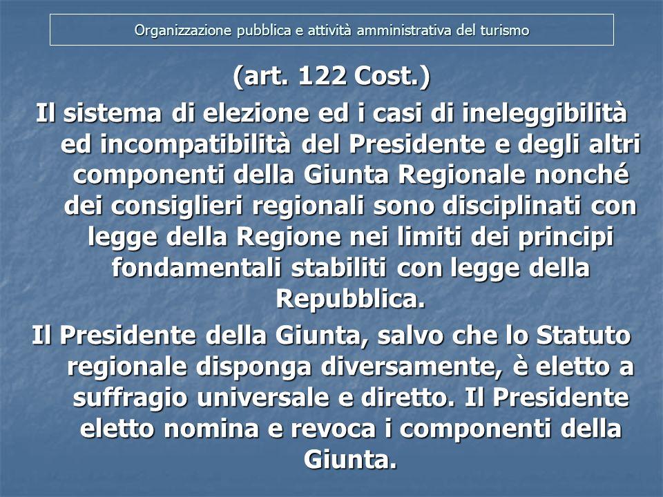 Organizzazione pubblica e attività amministrativa del turismo (art.