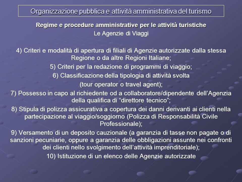 Organizzazione pubblica e attività amministrativa del turismo Regime e procedure amministrative per le attività turistiche Le Agenzie di Viaggi 4) Cri