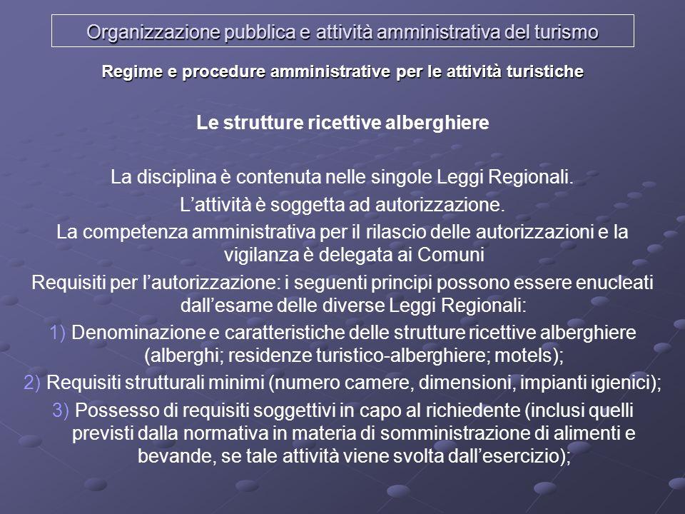 Organizzazione pubblica e attività amministrativa del turismo Regime e procedure amministrative per le attività turistiche Le strutture ricettive albe