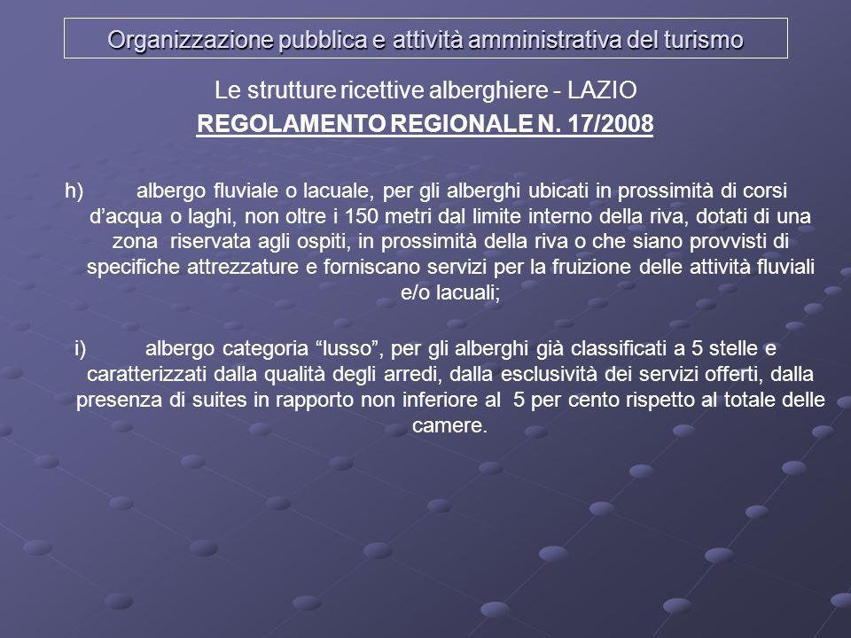 Organizzazione pubblica e attività amministrativa del turismo Le strutture ricettive alberghiere - LAZIO REGOLAMENTO REGIONALE N. 17/2008 h) albergo f