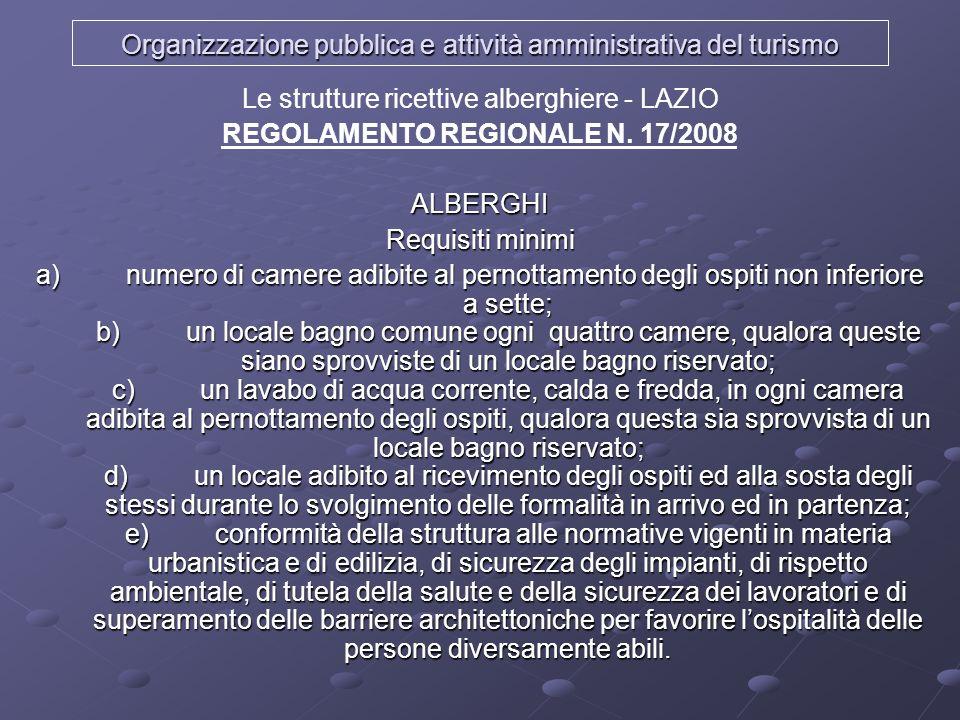 Organizzazione pubblica e attività amministrativa del turismo Le strutture ricettive alberghiere - LAZIO REGOLAMENTO REGIONALE N. 17/2008ALBERGHI Requ