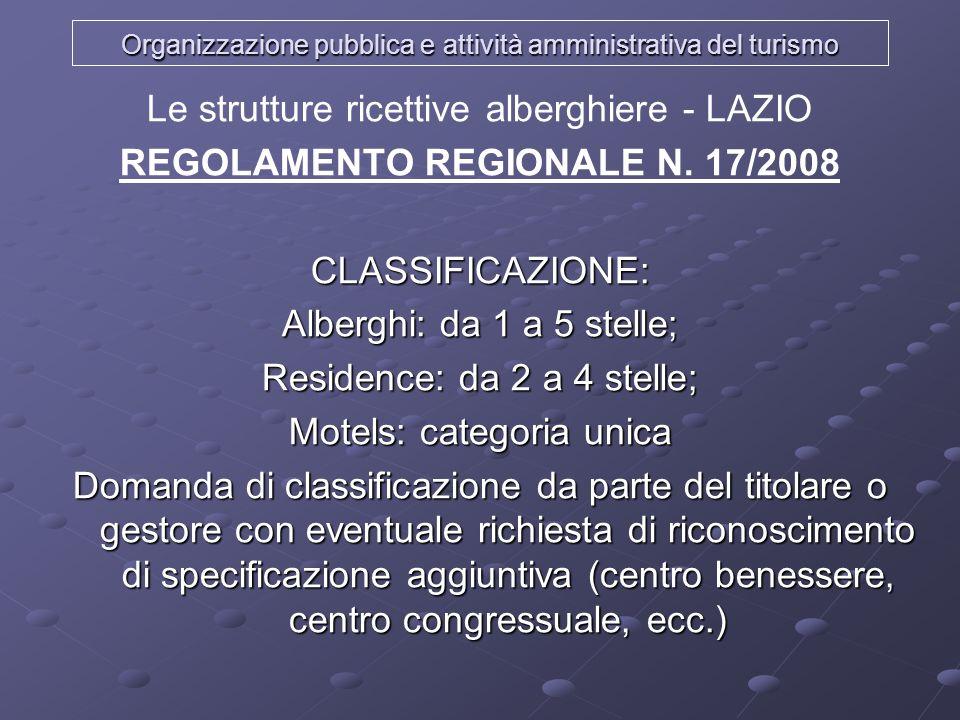 Organizzazione pubblica e attività amministrativa del turismo Le strutture ricettive alberghiere - LAZIO REGOLAMENTO REGIONALE N. 17/2008CLASSIFICAZIO