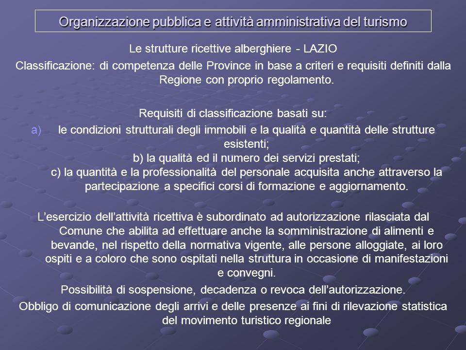 Organizzazione pubblica e attività amministrativa del turismo Le strutture ricettive alberghiere - LAZIO Classificazione: di competenza delle Province