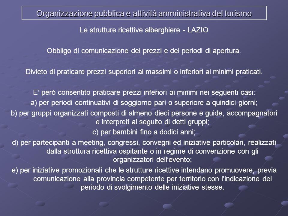 Organizzazione pubblica e attività amministrativa del turismo Le strutture ricettive alberghiere - LAZIO Obbligo di comunicazione dei prezzi e dei per