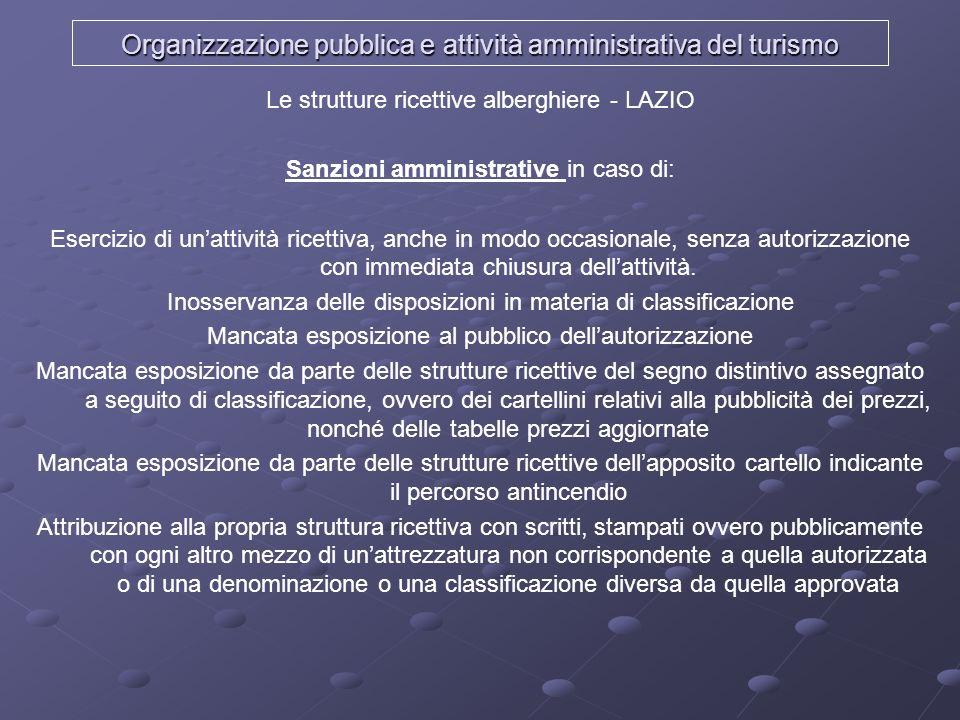 Organizzazione pubblica e attività amministrativa del turismo Le strutture ricettive alberghiere - LAZIO Sanzioni amministrative in caso di: Esercizio