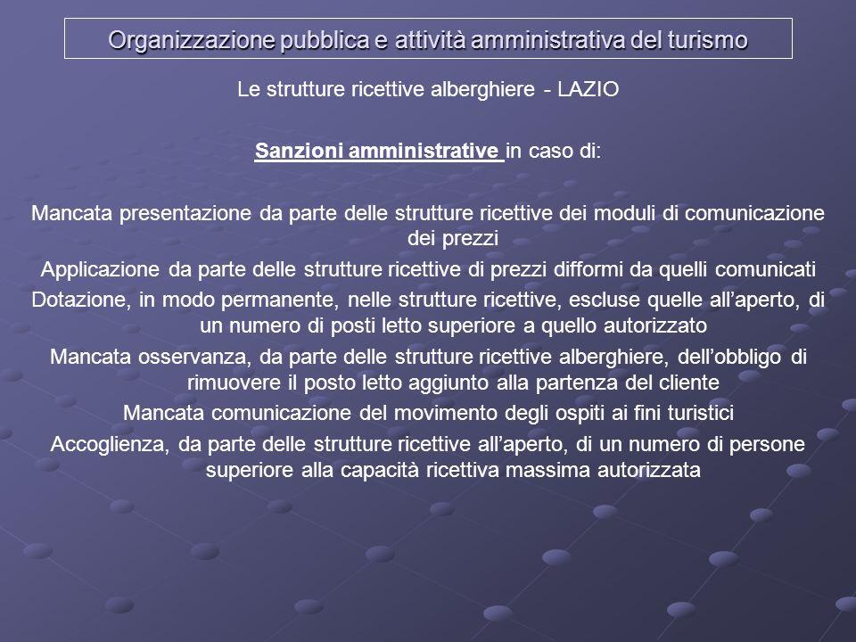Organizzazione pubblica e attività amministrativa del turismo Le strutture ricettive alberghiere - LAZIO Sanzioni amministrative in caso di: Mancata p