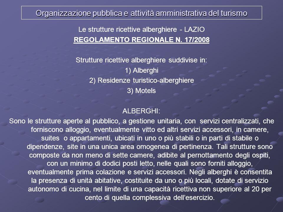 Organizzazione pubblica e attività amministrativa del turismo Le strutture ricettive alberghiere - LAZIO REGOLAMENTO REGIONALE N. 17/2008 Strutture ri