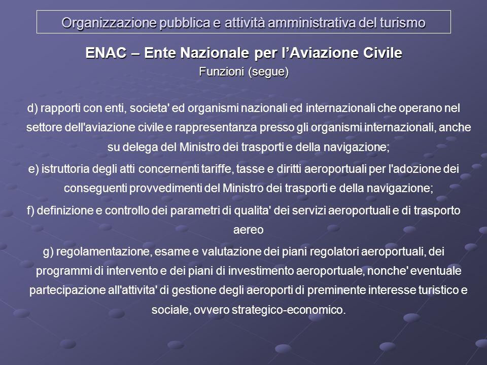 Organizzazione pubblica e attività amministrativa del turismo ENAC – Ente Nazionale per lAviazione Civile Funzioni (segue) d) rapporti con enti, socie