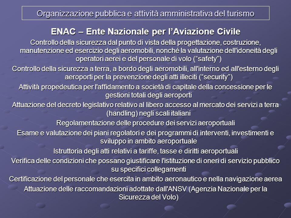 Organizzazione pubblica e attività amministrativa del turismo ENAC – Ente Nazionale per lAviazione Civile Controllo della sicurezza dal punto di vista