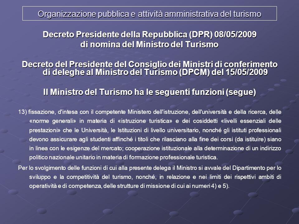 LAmministrazione Centrale del Turismo (D.L.