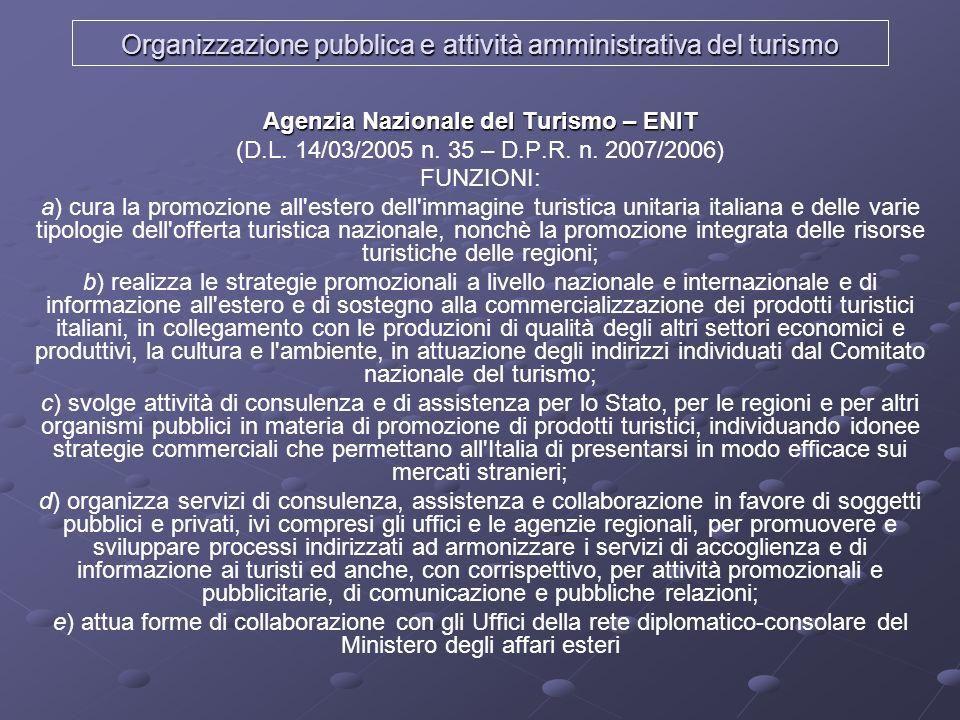 Organizzazione pubblica e attività amministrativa del turismo Agenzia Nazionale del Turismo – ENIT (D.L. 14/03/2005 n. 35 – D.P.R. n. 2007/2006) FUNZI