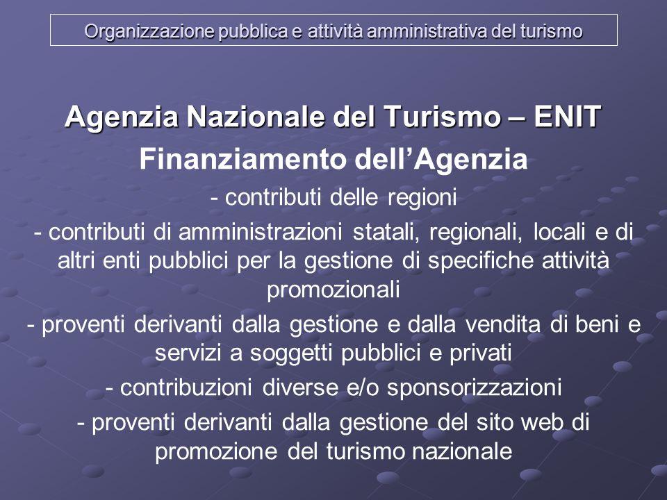 Organizzazione pubblica e attività amministrativa del turismo Agenzia Nazionale del Turismo – ENIT Finanziamento dellAgenzia - contributi delle region