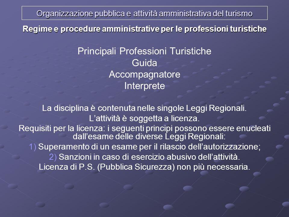 Organizzazione pubblica e attività amministrativa del turismo Regime e procedure amministrative per le professioni turistiche Principali Professioni T