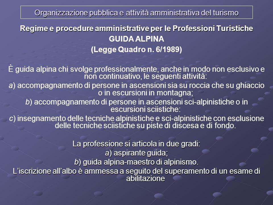 Organizzazione pubblica e attività amministrativa del turismo Regime e procedure amministrative per le Professioni Turistiche GUIDA ALPINA (Legge Quad