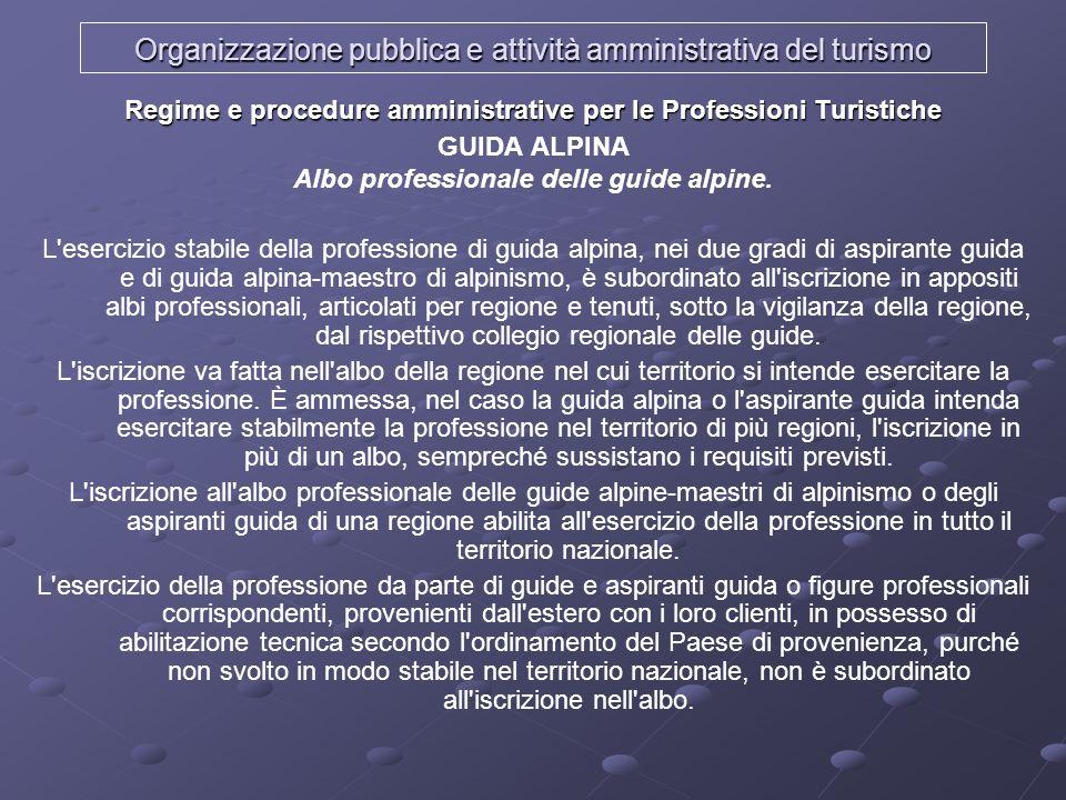 Organizzazione pubblica e attività amministrativa del turismo Regime e procedure amministrative per le Professioni Turistiche GUIDA ALPINA Albo profes