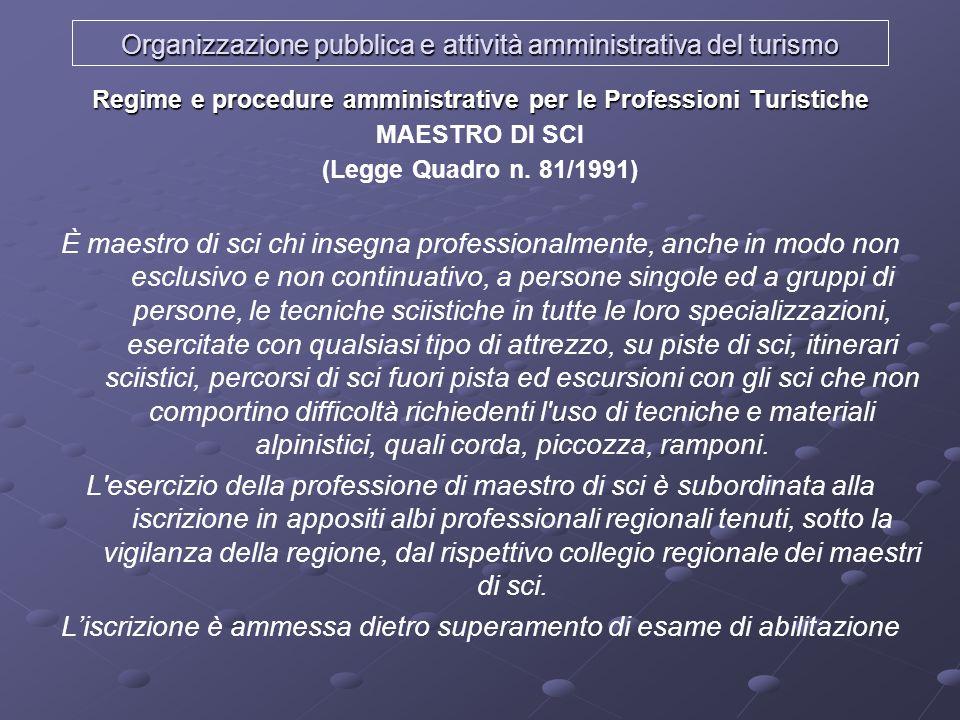 Organizzazione pubblica e attività amministrativa del turismo Regime e procedure amministrative per le Professioni Turistiche MAESTRO DI SCI (Legge Qu