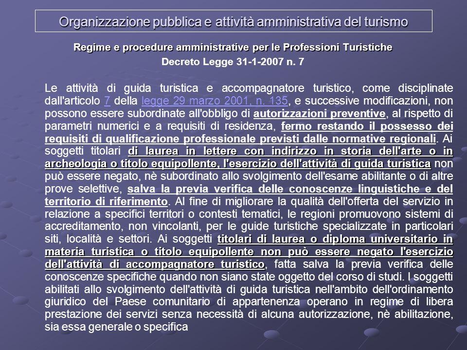 Organizzazione pubblica e attività amministrativa del turismo Regime e procedure amministrative per le Professioni Turistiche Decreto Legge 31-1-2007
