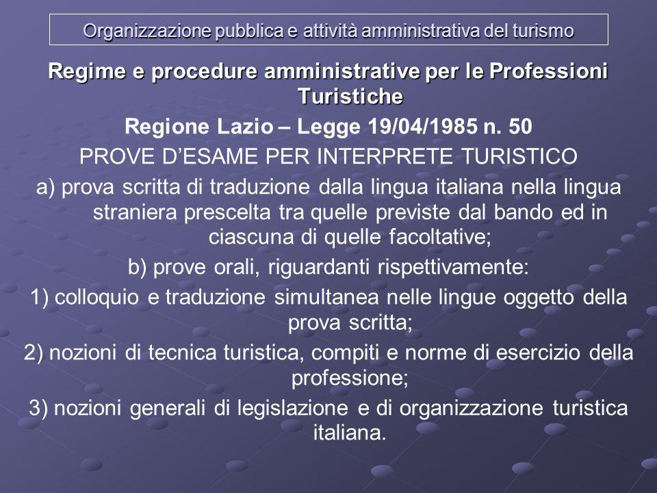 Organizzazione pubblica e attività amministrativa del turismo Regime e procedure amministrative per le Professioni Turistiche Regione Lazio – Legge 19