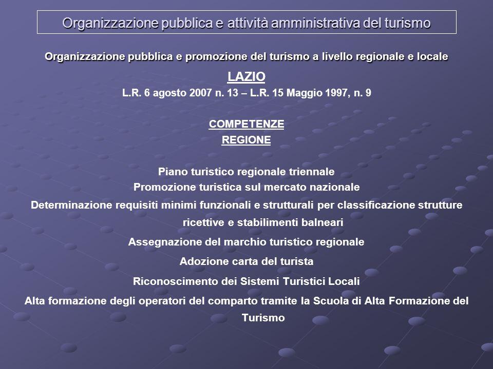 Organizzazione pubblica e attività amministrativa del turismo Organizzazione pubblica e promozione del turismo a livello regionale e locale LAZIO L.R.