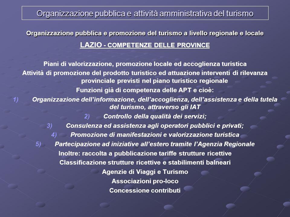 Organizzazione pubblica e attività amministrativa del turismo Organizzazione pubblica e promozione del turismo a livello regionale e locale LAZIO - CO