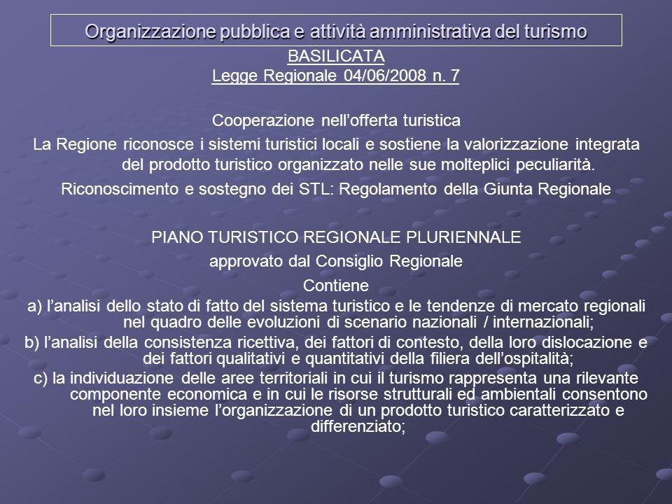 Organizzazione pubblica e attività amministrativa del turismo BASILICATA Legge Regionale 04/06/2008 n. 7 Cooperazione nellofferta turistica La Regione