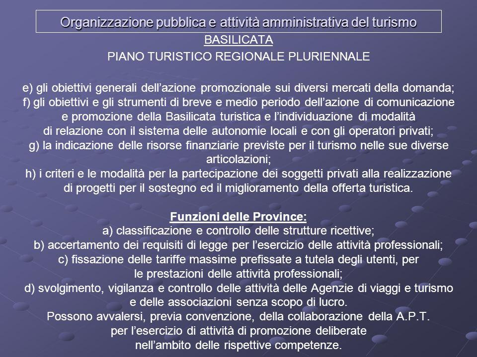 Organizzazione pubblica e attività amministrativa del turismo BASILICATA PIANO TURISTICO REGIONALE PLURIENNALE e) gli obiettivi generali dellazione pr