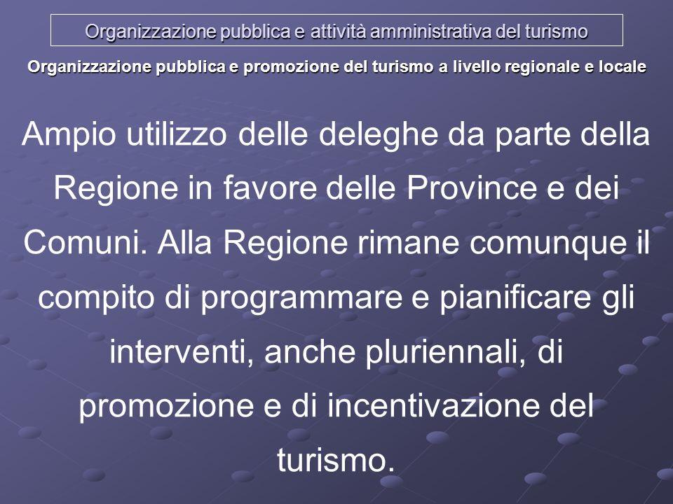 Organizzazione pubblica e attività amministrativa del turismo Organizzazione pubblica e promozione del turismo a livello regionale e locale Ampio util