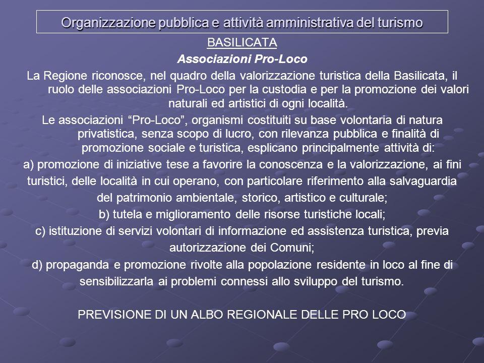 Organizzazione pubblica e attività amministrativa del turismo BASILICATA Associazioni Pro-Loco La Regione riconosce, nel quadro della valorizzazione t