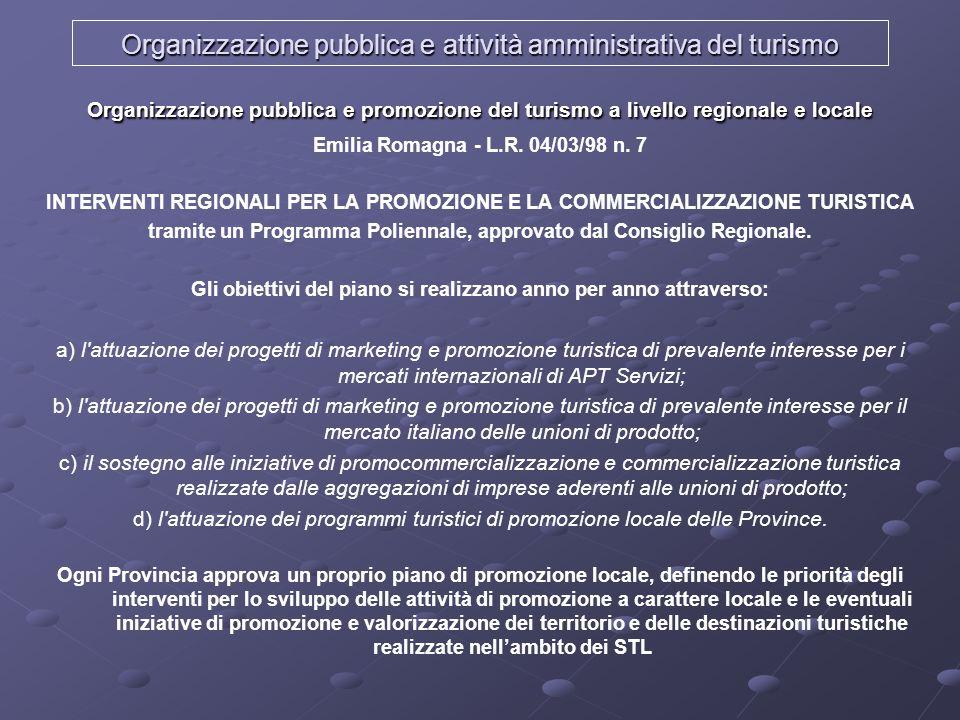 Organizzazione pubblica e attività amministrativa del turismo Organizzazione pubblica e promozione del turismo a livello regionale e locale Emilia Rom