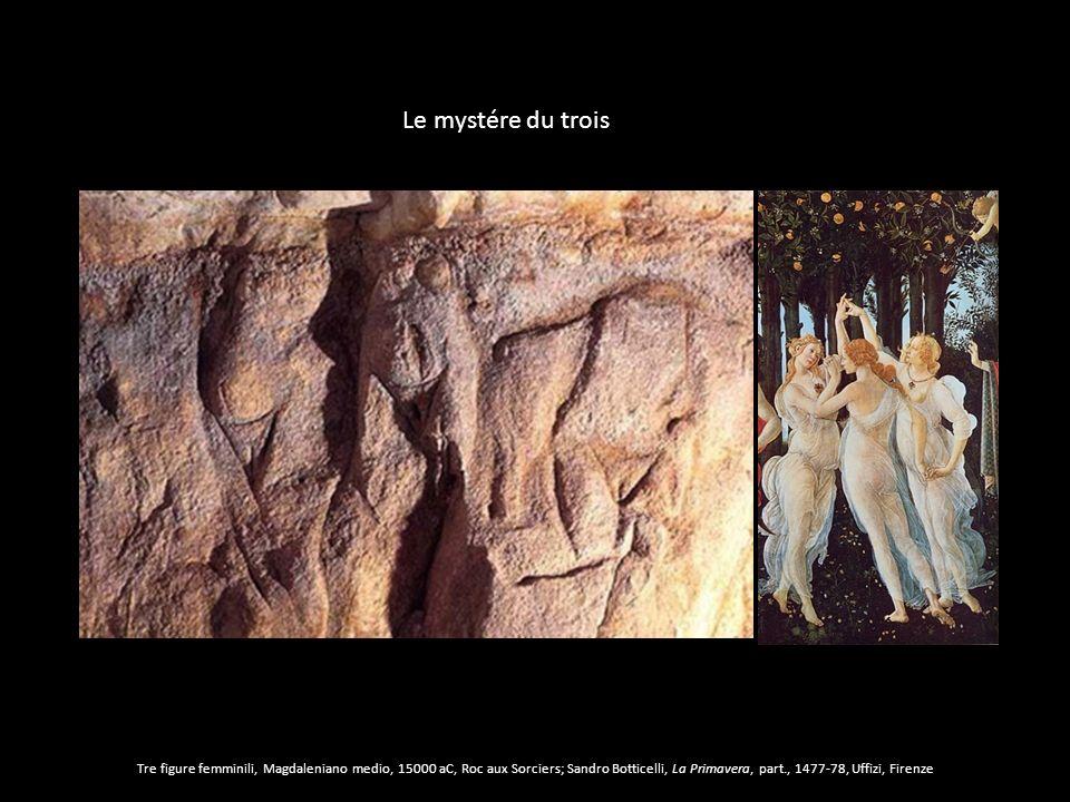 Tre figure femminili, Magdaleniano medio, 15000 aC, Roc aux Sorciers; Sandro Botticelli, La Primavera, part., 1477-78, Uffizi, Firenze Le mystére du t