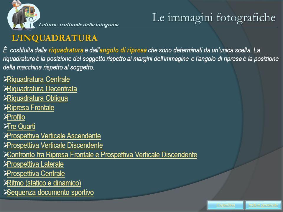 Le immagini fotografiche LINQUADRATURA Riquadratura Centrale Riquadratura Decentrata Riquadratura Obliqua Ripresa Frontale Profilo Tre Quarti Prospett