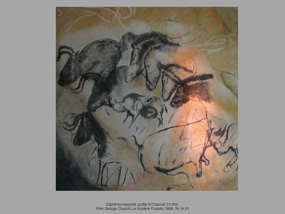 Dipinti sovrapposti, grotta di Chauvet, 31.000. Film: George Clouzot, Le Mystere Picasso, 1956, 1h.14.51
